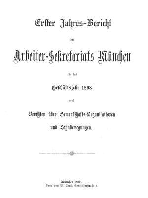 Titelseite des ersten Jahresberichts aus dem Arbeitersekretariat.