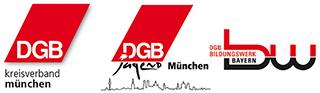 Logoleiste DGB Kreisverband München, DGB Jugend München und DGB Bildungswerk München