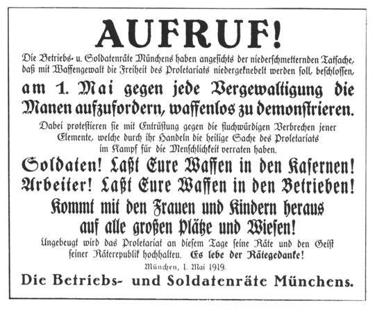 Aufruf zur waffenlosen Demonstration auf den 1.Mai-Kundgebungen 1919