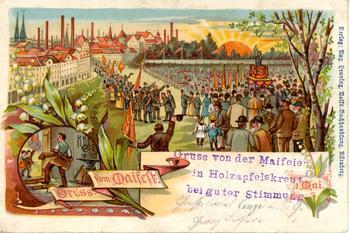Postkarte von einer der ersten Maifeiern in Holzapfelkreuth