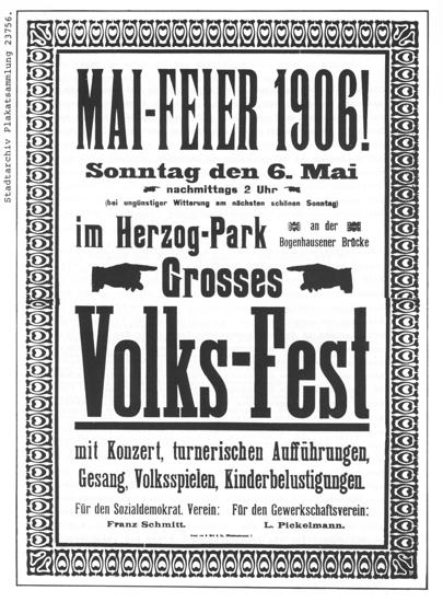 Plakat zur 1.Mai-Feier 1906