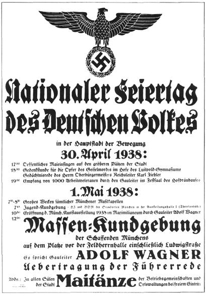Plakat der Nazis zum 1.Mai 1938