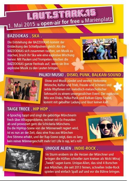 Beschreibung der Bands, die auf dem Laut.Stark.15 auf dem Marienplatz auftreten werden