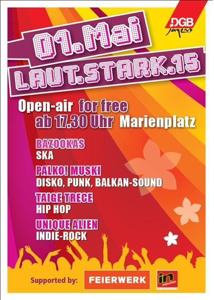 Flyer für das Laut.Stark.15 Open-Air 2015 am Marienplatz