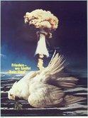 Antikriegstagsplakat IG Metall 1981, tote Friedenstaube, Atompilz, Atombombe