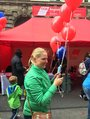 Simone Burger wirbt für TTIP Demo